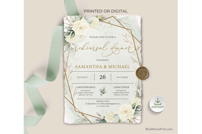 SIMY - Editable Rehearsal Dinner Invitation Template White Roses Green