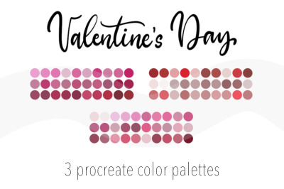 Valentine's Day 3 color palettes for Procreate. 90 Color Swatches