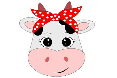 Cow face svg with bandana , Cute cow svg, Cow clip art, Cow svg design