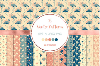 16 Flamingos, Palm Leaves and Flowers Vector Patterns