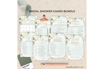 SIMY - Editable Bridal Shower Games Bundle Greenery White Roses Floral