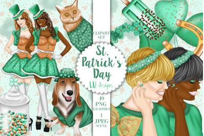 St Patricks Day Clipart, St Paddys Fashion Girl, Shamrock Luck Clipart