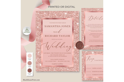 CLOE - Rose Gold Wedding Invitation Suite editable Templates Digital