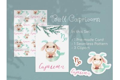 Watercolor Capricorn Zodiac Bull Clipart