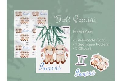 Watercolor Gemini Zodiac Bull Clipart