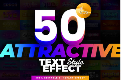 50 in 1 Bundle Attractive Text Effect Style
