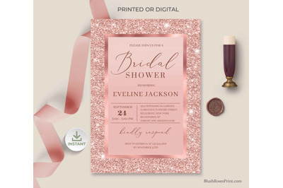 CLOE - Rose Gold Bridal Shower Invitation Editable Template Digita DIY