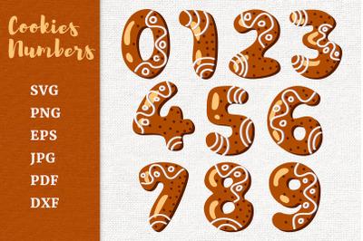 Gingerbread Cookies Numbers. Christmas sugar cookies numbers SVG.