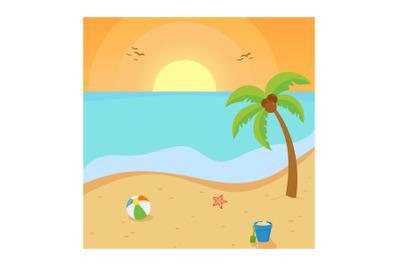 Beautiful Beach Vector Illustration