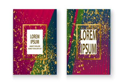 Creative Christmas cover frame design paint golden splatter, gold glit
