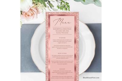 CLOE - Rose Gold Wedding Menu Editble Template Digital Download DIY