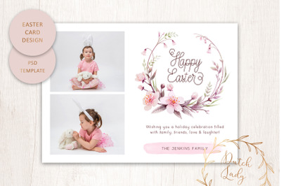 PSD Easter Photo Card Template #2