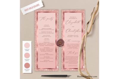CLOE - Editable Wedding Ceremony Program Rose Gold Glitter Template