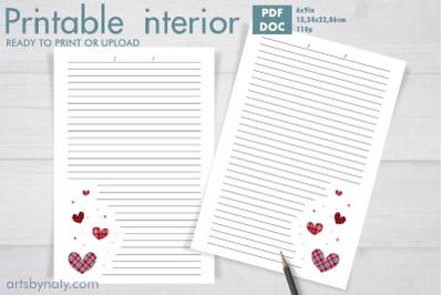Plaid Valentine's day hearts KDP journal.