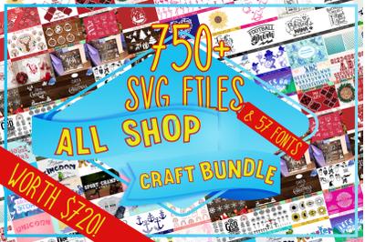 Feya's All Shop Craft Bundle: 750+ SVG Cut Files & 57 Fonts