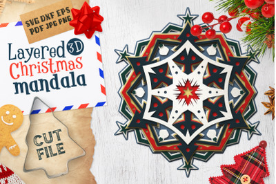 Layered 3D Christmas Mandala SVG Cut File