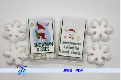 Snowman Kisses Tic Tac Label
