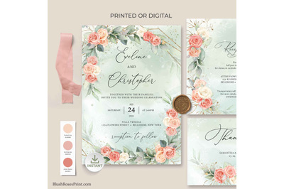 ADYS - Rose Gold Floral Roses Wedding Invitation Suite Editable DIY