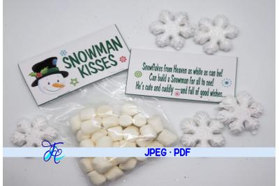 Snowman Kisses Label
