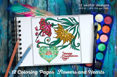 12 Coloring Pages set