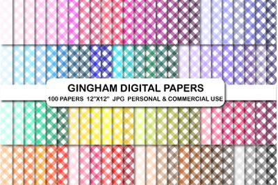 100 Gingham background scrapbook digital paper set