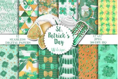 St Patricks Digital Papers, Shamrock Patterns, Irish Backgrounds
