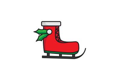 Ski Shoes And Leaf Christmas Icon