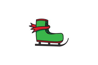 Green Ski Shoes Christmas Icon