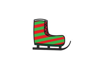 Stripes Ski Shoes Christmas Icon