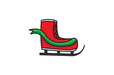 Red Ski Shoes Christmas Icon