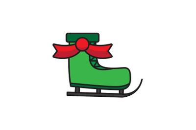 Green Ski Shoes With Ribbon Christmas Icon