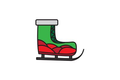Wave Pattern Ski Shoes Christmas Icon
