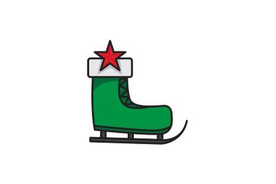Star And Ski Shoes Christmas Icon
