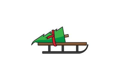 Christmas Tree On Sled Christmas Icon