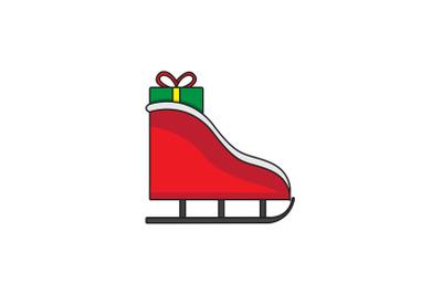 Santa Sled And Gift Christmas Icon