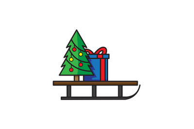 Tree With Sled Christmas Icon