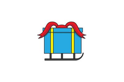 Blue Gift Sled Christmas Icon