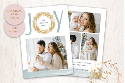 PSD Christmas Photo Card Template - Double Sided - #2