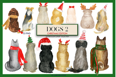 Dogs 2 . Christmas Edition. Dogs Breeds. Watercolor clip art.