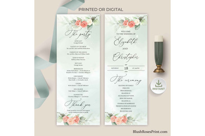 ADYS - Dusty Rose Wedding Program Template Instant Download Digital