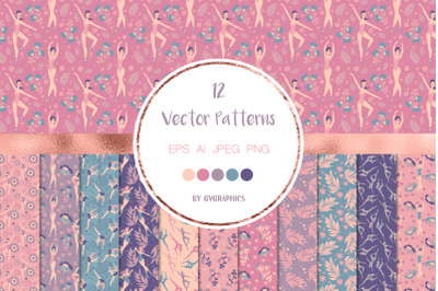 12 Pretty Ballerinas Vector Patterns and Seamless Tiles