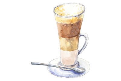 Coffee latte - watercolor food illustration