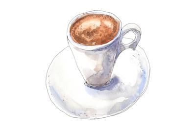 Coffee espresso - watercolor food illustration