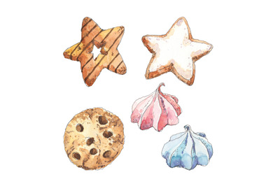 Cookies miniset - watercolor food illustration