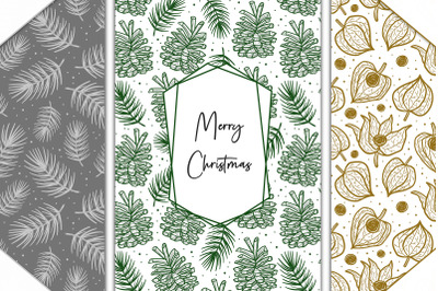 Christmas cards ready for print, patterns, clip arts.