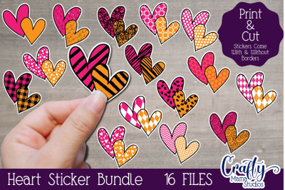 Valentine's Day Stickers, Heart, Patterned Hearts, Valentine