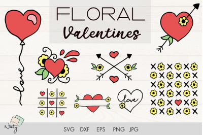 Floral Valentines SVG heart illustration
