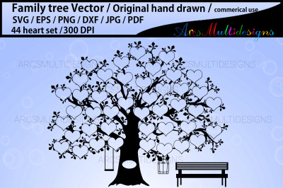 44 heart family tree vector template
