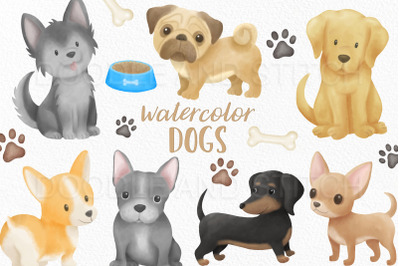 Watercolor Dogs Clipart Illustrations
