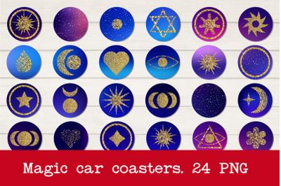 Bundle of car coasters. Magic Galaxy glitter